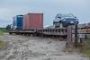 Loading ramp along Airport Road in Moosonee. Flatcar ONT 100345.