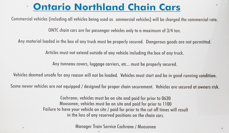 Ontario Northland Railway Chain Cars sign at Moosonee Station. These are the cars on the Polar Bear Express that transport vehicles back and forh between Moosonee and Cochrane.