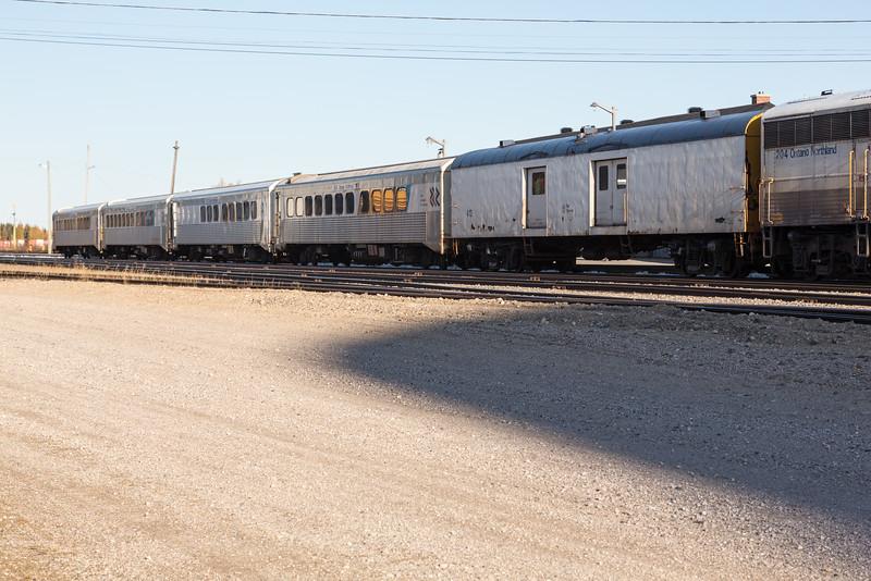 Short Polar Bear Express passenger consist in Moosonee. Three coaches and snack car 702. Baggage 413.