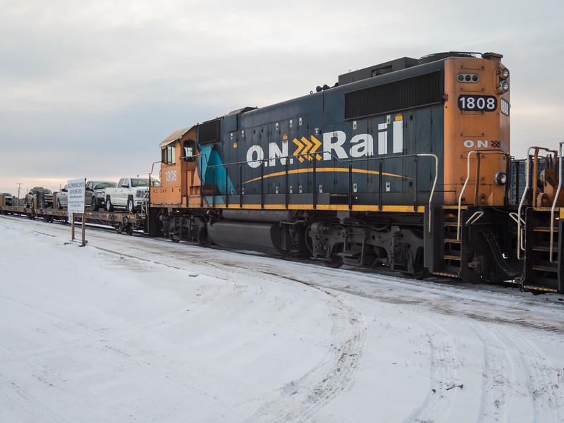Gp38-2 locomotive 1808 second unit on the Polar Bear Express 2015 December 31st.
