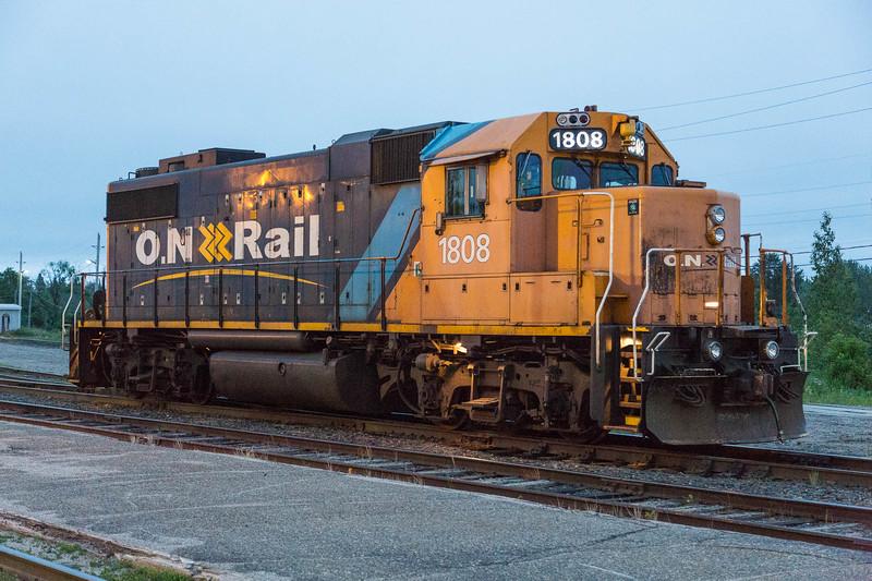 GP38-2 1808 waiting in Cochrane.