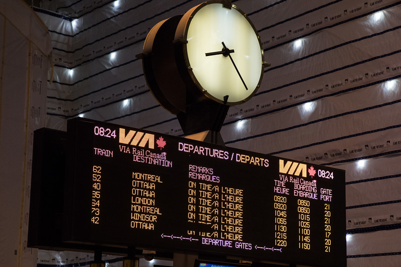 Union Station departure board.