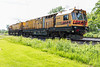 Loram rail grinding unit LMIX-606 on CPR track in Belleville Ontario 2020 June 7 from front of power unit - exposed for equipment