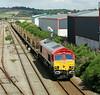 66114 runs past Raith's Farm with a partially unloaded cwr train on Sunday 3rd August 2014