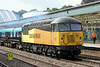 56087 at Newport on Tuesday 12th August with an empty steel train