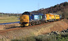 37667 and 37688 head alongside River Don between Dyce and Inverurie with Snow Train on 18th February 2012