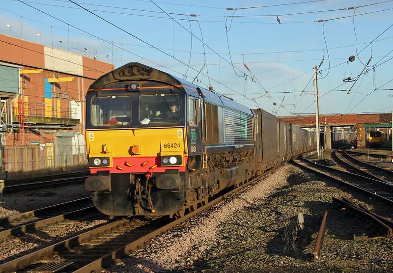 66424 on intermodal through Warrington on 1st February 2014