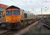 66735 and 66741 double head a trial biomass run to Drax on 1st February 2014