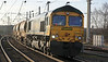 66620 enters Warrington on 1st February 2014 with Crewe to Penrith engineer's train.