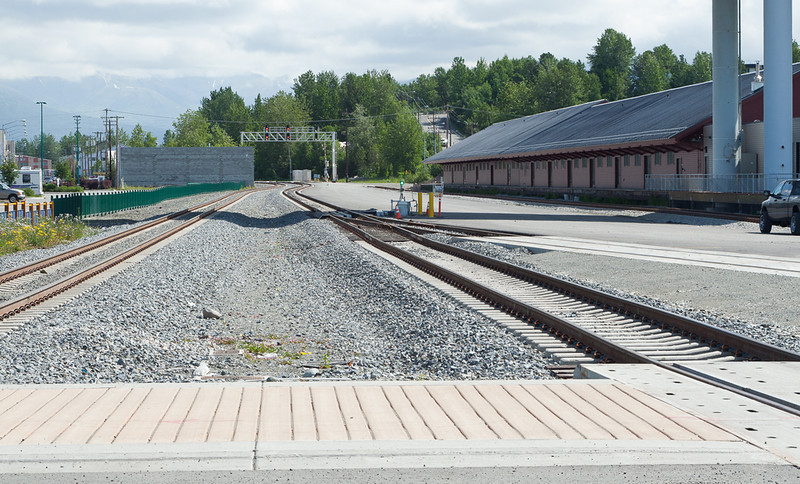 June 2010 view of Anchorage freight house and sidings. Upgraded to concrete ties and the building will be retail space in the future.
