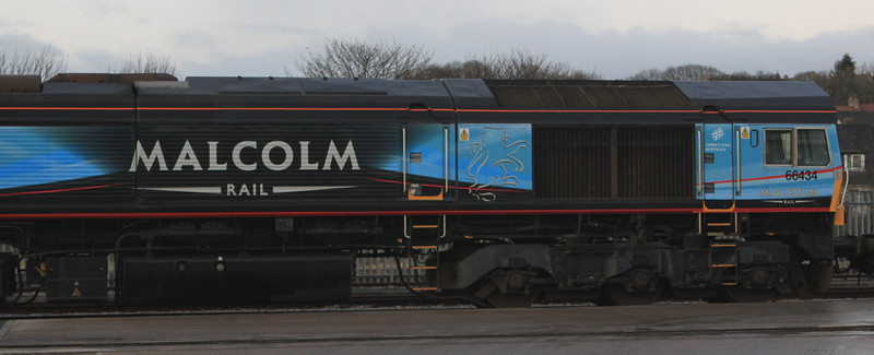 66434 in new Malcolm livery sits in Craiginches yard on 21st January 2012