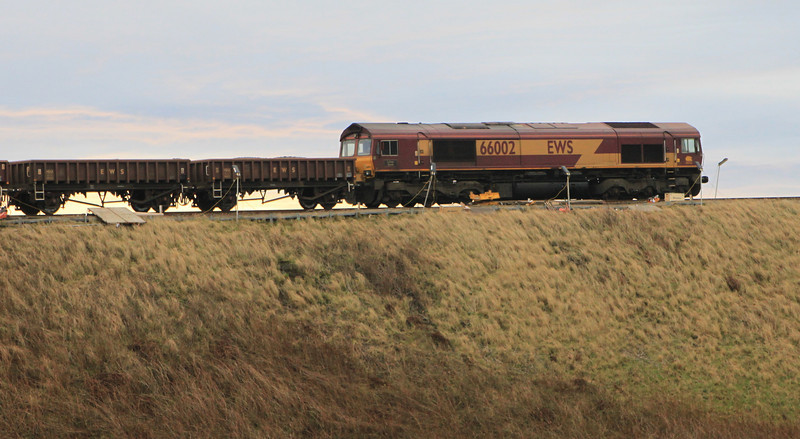 66002 with engineering train at Muchalls Viaduct on 8th January 2012