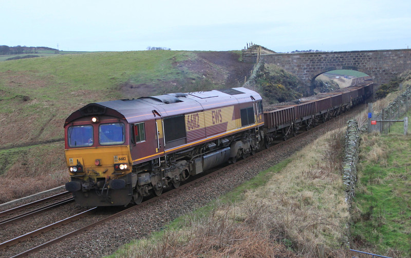 66112 heads aways from Muchalls Viaduct with engineering train on 8th January 2012