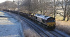 66107 with engineering train passes Weets between Insch and Kennethmont on 15th January 2012