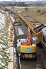 Side-tipping wagon discharges ballast at Marykirk on 27th January 2013