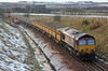 66169 enters the Marykirk work site with side-tipping ballast wagons on 27th January 2013