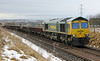 66597 waits to enter the Marykirk work site with ballast and concrete sleepers on 27th January 2013
