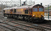 66186 and 66187 approach Carlisle on 31st January 2014