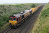 66111 tails 66107 on 6K10 MOBC to Mossend towards Inverkeilor on Sunday 5th August 2012