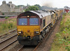 6K10 66107 with 66160 on rear on MOBC, runs through Carnoustie on Sunday 12th August 2012