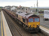 6K12 66111 runs though Carnoustie Station on Sunday 12th August 2012 with spoil train from Lunan Viaduct engineering site