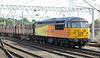 56105 enters Carlisle with empty log train on Sunday 28th July 2013