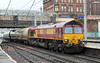 66102 heads into Carlisle with Clitheroe empty cement tanks on Monday 29th July 2013