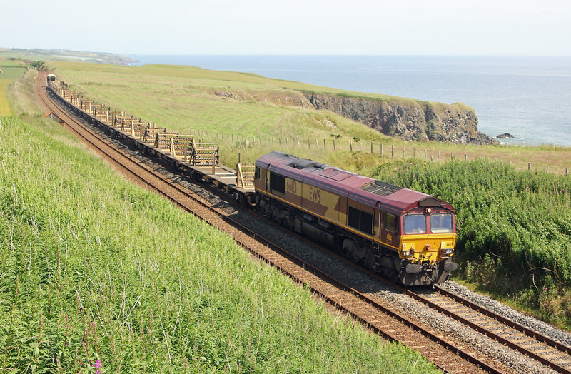 66113 at Limpet Mill with the unloaded CWR train from Keith Loop to Millerhill on Sunday 6th July 2014