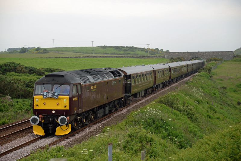 47854 with Royal Scotsman passes the former crossing at Cairnrobin on Wednesday 1st July 2015