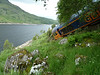 66734 perched above Loch Treig after derailing on 28th June 2012
