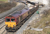 66129 shunts wagons for loading at Peak Forest on Saturday 17th March 2012