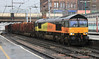 66850 with Carlisle Yard to Chirk timber train on Friday 16th March 2012