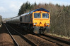 66737 at Livingston South with aluminium tanks from North Blyth to Fort William on 3rd March 2012