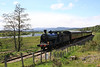 828 nears Broomhill Station on Strathspey Raiway on 28th May 2011
