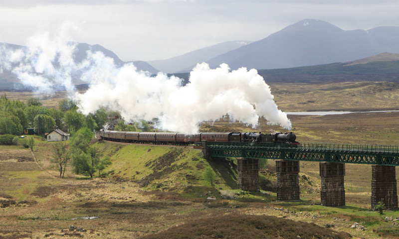 Double-headed SRPS tour departs from Rannoch Station on 14 May 2011