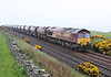 66001 heads south at Cairnrobin on 7th May 2011 with loaded china clay tanks