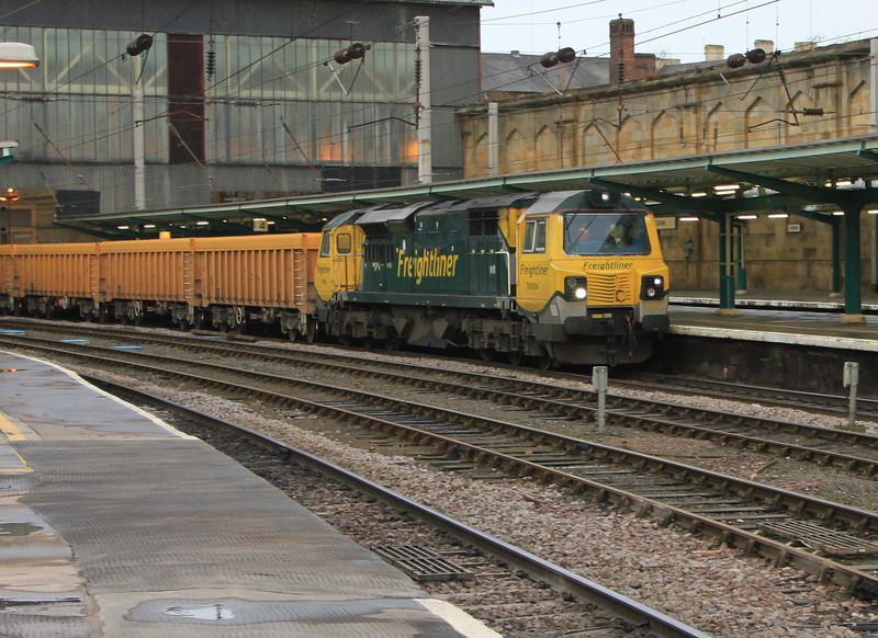 70006 heads south through Carlisle with empty ballast hoppers on 24th November 2011