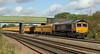 66708 Jayne runs south past Cossington foot crossing with loaded ballast from Mountsorrel on 3rd October