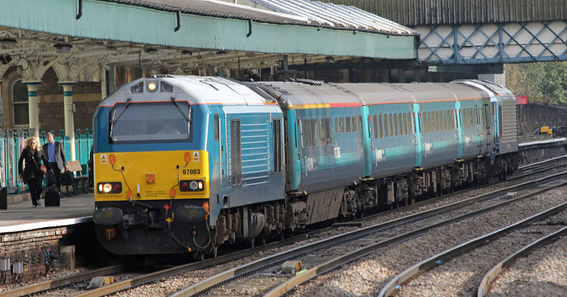 67003 with 67001 on rear at Newport on Monday 1st October 2012
