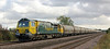 70003 runs past Cossington foot crossing with cement empties on 3rd October 2012