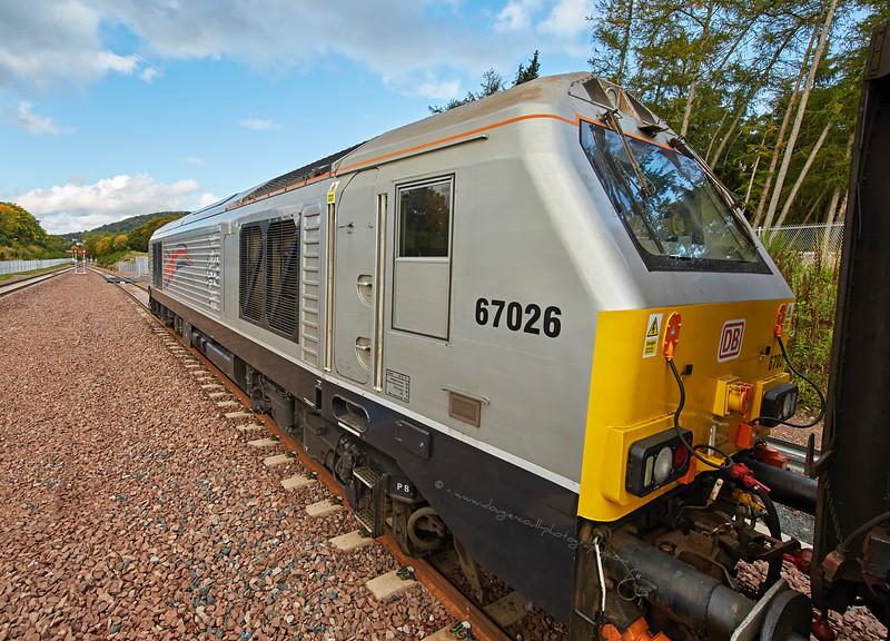 Diesel Locomotive 67026 - 'Silver Jubilee' - at Tweedbank Railway Station - 8 October 2015