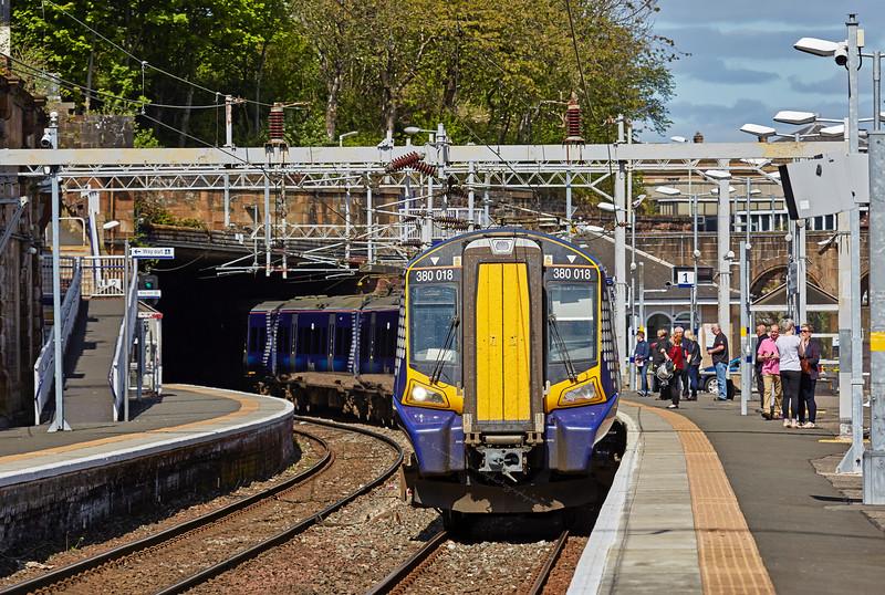 Class 380 (380 018) at Greenock Central Station - 15 May 2016