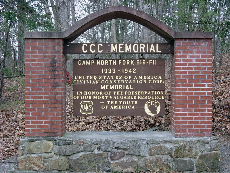 CCC Memorial to Camp North Fork CCC Camp, Grant County, WV.  This camp was used between 1933 and 1942 and is located off Rt. 55 near the Grant/Pendleton county line.