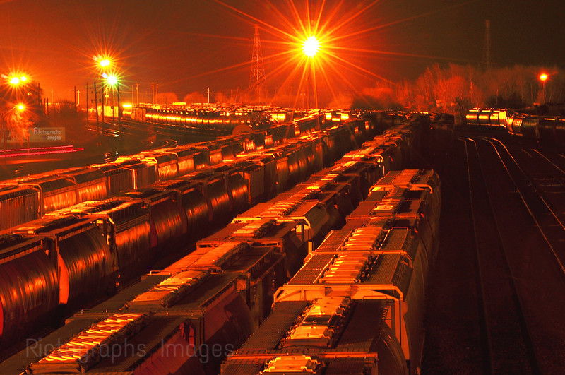 Rail Yard At Night