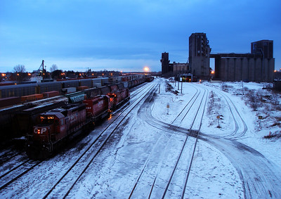 Winter, Train Yard, Grain Elevators