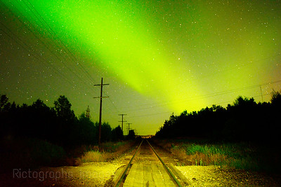 Train Tracks, Northern Lights; Rictographs Images