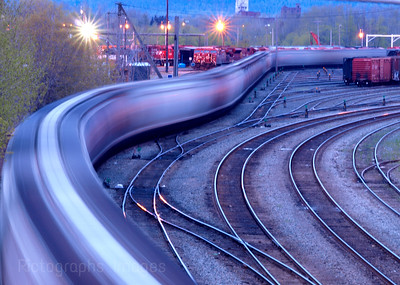 Fast Train Moving Through the Yard
