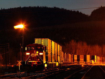 Train Moving Freight at Night