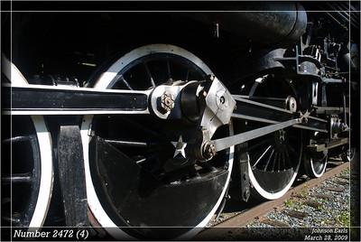 Number 2472 (4)  Southern Pacific number 2472  Photos taken on the Niles Canyon Railway Springtime Big Steam Special.  Builder: Baldwin Locomotive Works Date: 1921 Type: 4-6-2 Pacific Cylinders: 25 x 30 inches Drivers: 73 inches Boiler Pressure: 200 psi Gross Weight: 149 tons Tractive Effort: 45,850 pounds  Sunol, California, 28 March 2009.