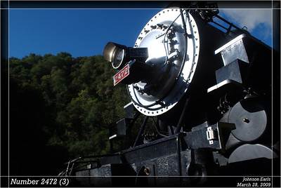 Number 2472 (3)  Southern Pacific number 2472  Photos taken on the Niles Canyon Railway Springtime Big Steam Special.  Builder: Baldwin Locomotive Works Date: 1921 Type: 4-6-2 Pacific Cylinders: 25 x 30 inches Drivers: 73 inches Boiler Pressure: 200 psi Gross Weight: 149 tons Tractive Effort: 45,850 pounds  Sunol, California, 28 March 2009.